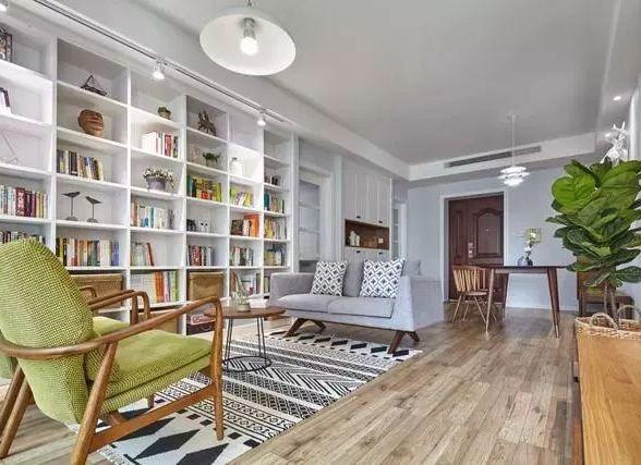 91平的北欧风新家,客厅拥有家庭图书馆太赞了!
