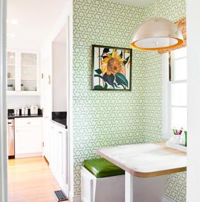 田园风格公寓小清新餐厅卡座效果图