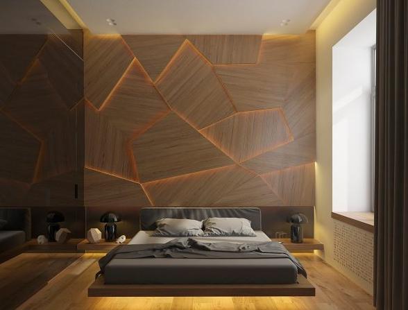 20个创意木质背景墙的卧室设计效果图