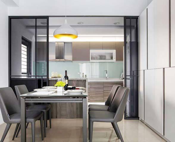 厨房靠餐厅一面也可以做橱柜装修效果图
