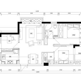 89平北欧风格三居室装修平面