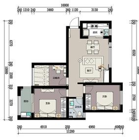 90平米北欧风格三室两厅装修彩色平面图