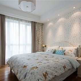 现代字母壁纸卧室装修效果图
