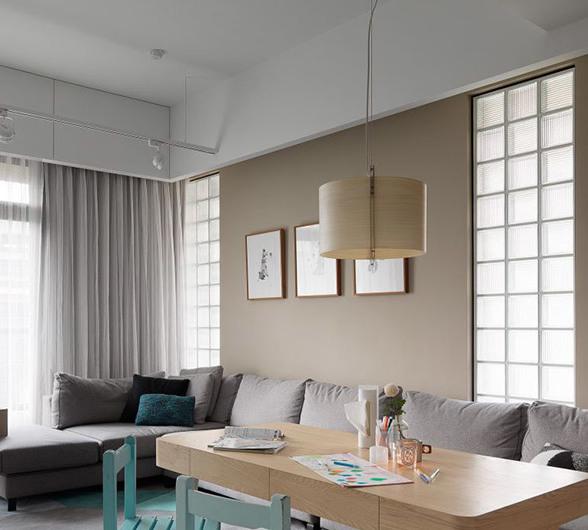 玻璃砖两居室客厅装修设计