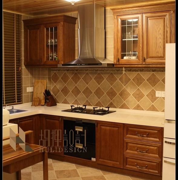 美式实木厨房桑拿板吊顶装修效果图