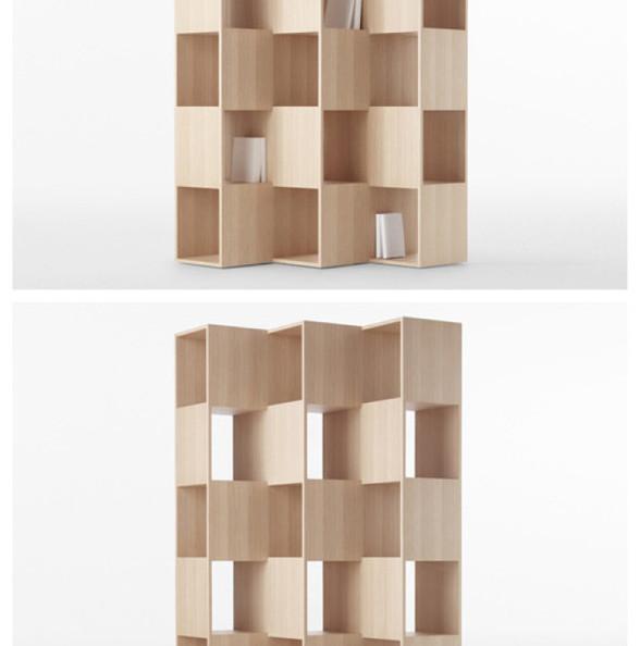 """来自日本Nendo工作室的创意,Fold书架能让你找到古诗""""横看成岭侧成峰,远近高低各不同""""的意境:两排小搁架,各自向着不同的方向,一排朝左,一排向右,于是,在同一个方向看过去,你将只能看到其中某一排的书籍,而另外一排,将被木板挡住~"""