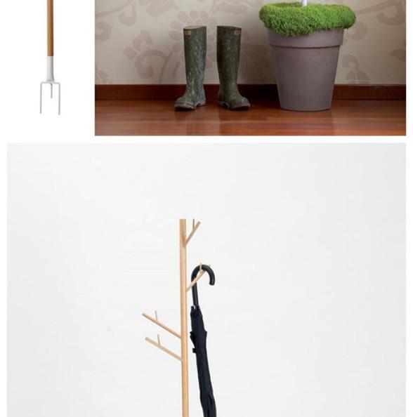设计的灵感来自于大自然,我们所见到的花盆里的盆栽,各种分支,设计师在这里将它所设计的产品插入到盆栽之中,就像是一个树长大后,不过他的却可以用来悬挂各种衣帽,并且刚进门的雨伞,挂在上面也可以不弄脏地板,将水分留给盆栽。