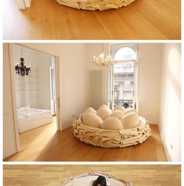 """鸟巢形废人专用沙发""""Giant Birdsnest"""",能让勤快人瞬间变成懒蛋,躺在里面天荒地老谁都不鸟。喜欢!想孵蛋!"""