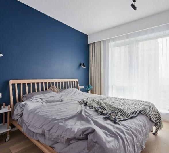 深蓝色卧室床头背景
